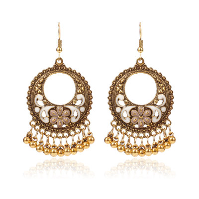 e0512160e Indian Fashion Jewelry Geometric Round Earrings Antique Gold Color Metal  Beads Tassel Dangle Earrings Long Dangling