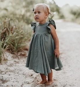 Image 4 - קמעונאות בנות שמלת תינוק בגדי קיץ לבן ירוק התלקחות שרוול לפרוע יפה ילדים שמלות בנות E19074