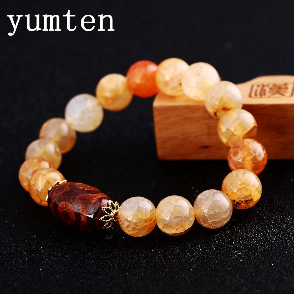 Yumten New Amber Natural Round 8mm/10mm/12mm/14mm Stone Agate Beads Bracelet For Men Women Classic Gifts Hot Sale Drop Shipping все цены