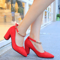 2016 Spring and Autumn new European and American sexy shallow mouth pointed heels high heeled shoes with a single shoe buckle wi
