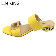 Купить с кэшбэком LIN KING Fashion Big Size Women Summer Slippers Solid Pu Woman Slides Lady Rhinestone Bohemia Shoes Square Heel Girl Slippers