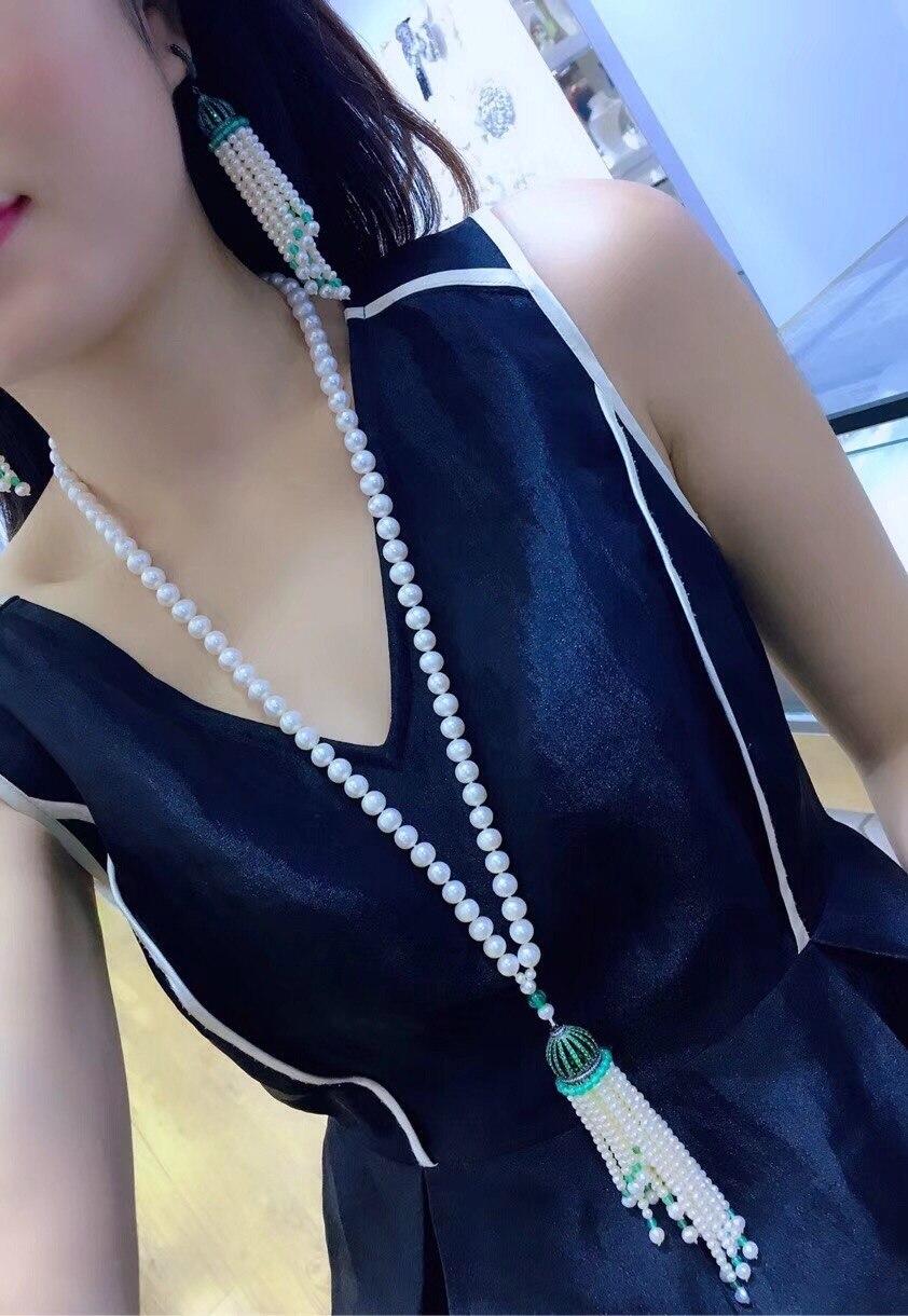 Perles d'eau douce naturelles gland boucles d'oreilles goutte S925 argent plaqué or blanc zircon cubique collier chandail chaîne longue femmes