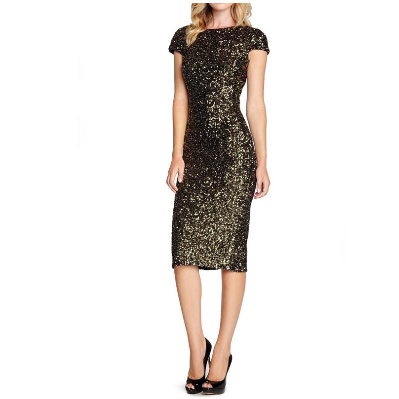 Gold O Neck Party Maxi Dresses Bodycon Glitter Hollow Out Short sleeve  Elegant Evening Club After 855d5bbebb85