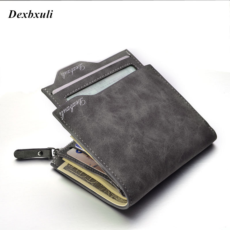 2019 New Nubuck Leather Men's Wallets Bifold Wallet ID Card Holder With Zipper Coin Purse Pockets Men Wallet With Coin Bag
