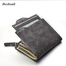 2016 New Nubuck leather Men's Wallets Bifold Wallet ID Card Holder With Zipper Coin Purse Pockets Men Wallet With Coin Bag