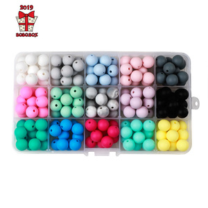 Image 1 - BOBO.BOX 15mm 100pcs Silicone Beads Food Grade Silicone Baby Teething For Necklace Chews Pacifier Chain Clip Beads Soft Silicone