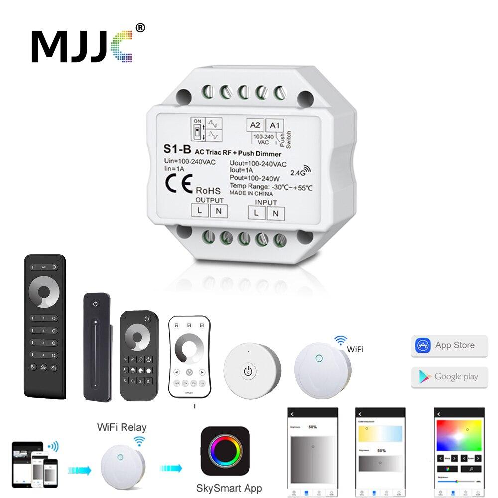 Diodo emissor de luz interruptor de dimmer triac 220 v 230 v 110 v 2.4g sem fio rf controle remoto regulável interruptor de pressão inteligente wi-fi dimmer para lâmpada de lâmpada led