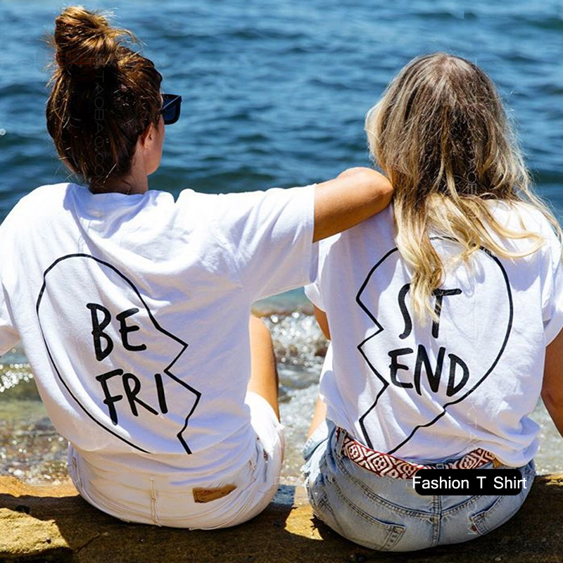 Best Friends T Shirt Donna Top 2018 Estate Donna T Shirt Stampa Lettera BE FRI ST END Magliette manica corta Tops bianco