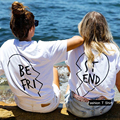 Best Friends T Shirt Women Top 2018 Summer Women Female T Shirt Printing Letter BE FRI ST END T Shirts Short Sleeve White Tops