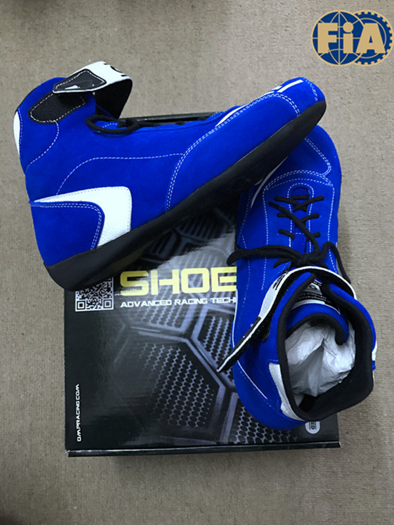 Top Quality Blue Color F1 Car Racing Shoes For Race Competition FIA 8856-2000