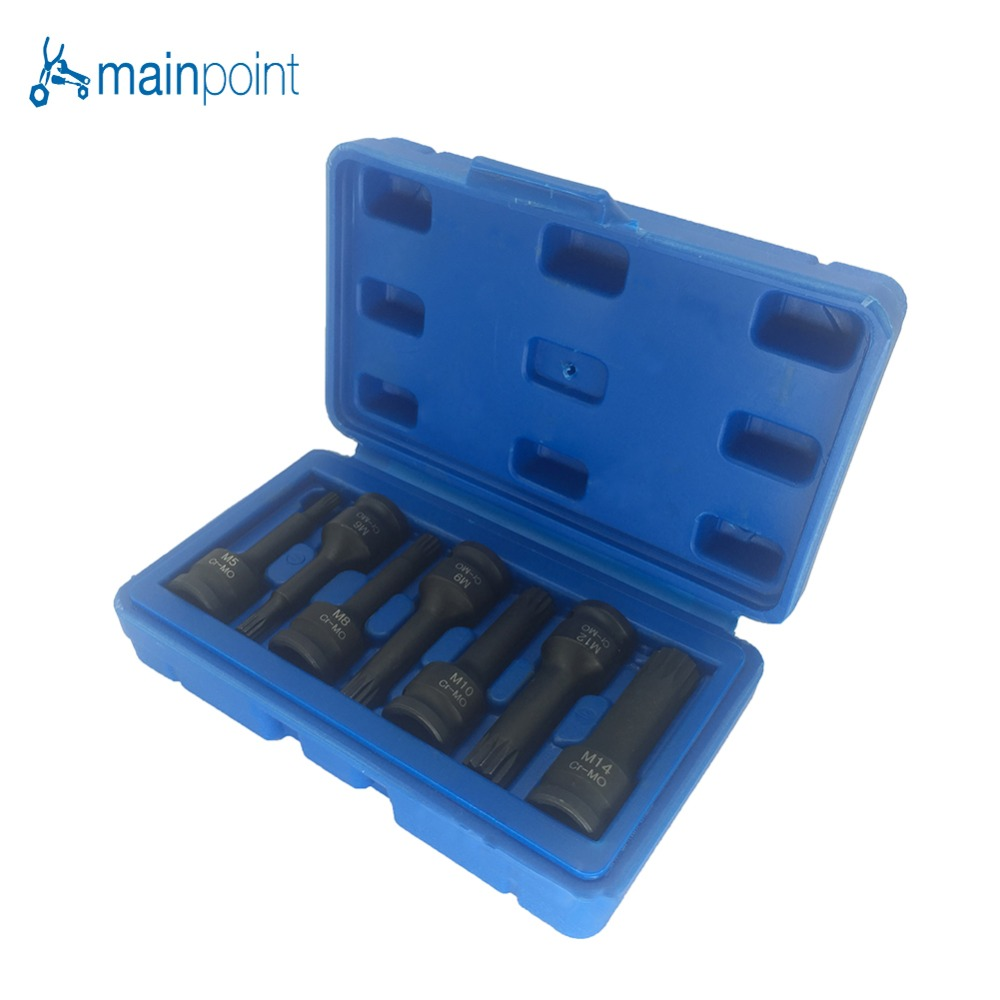 Mainpoint 3/8 Drive Impact Spline Bit Socket Set 7Pcs Cr-Mo M5 M6 M8 M9 M10 M12 M14 Long Black Impact Socket Bits Sets Tools mainpoint 1 4 1 2 3 8 e socket sockets set cr v torx star bit combination drive socket nuts set for auto car repair hand tool