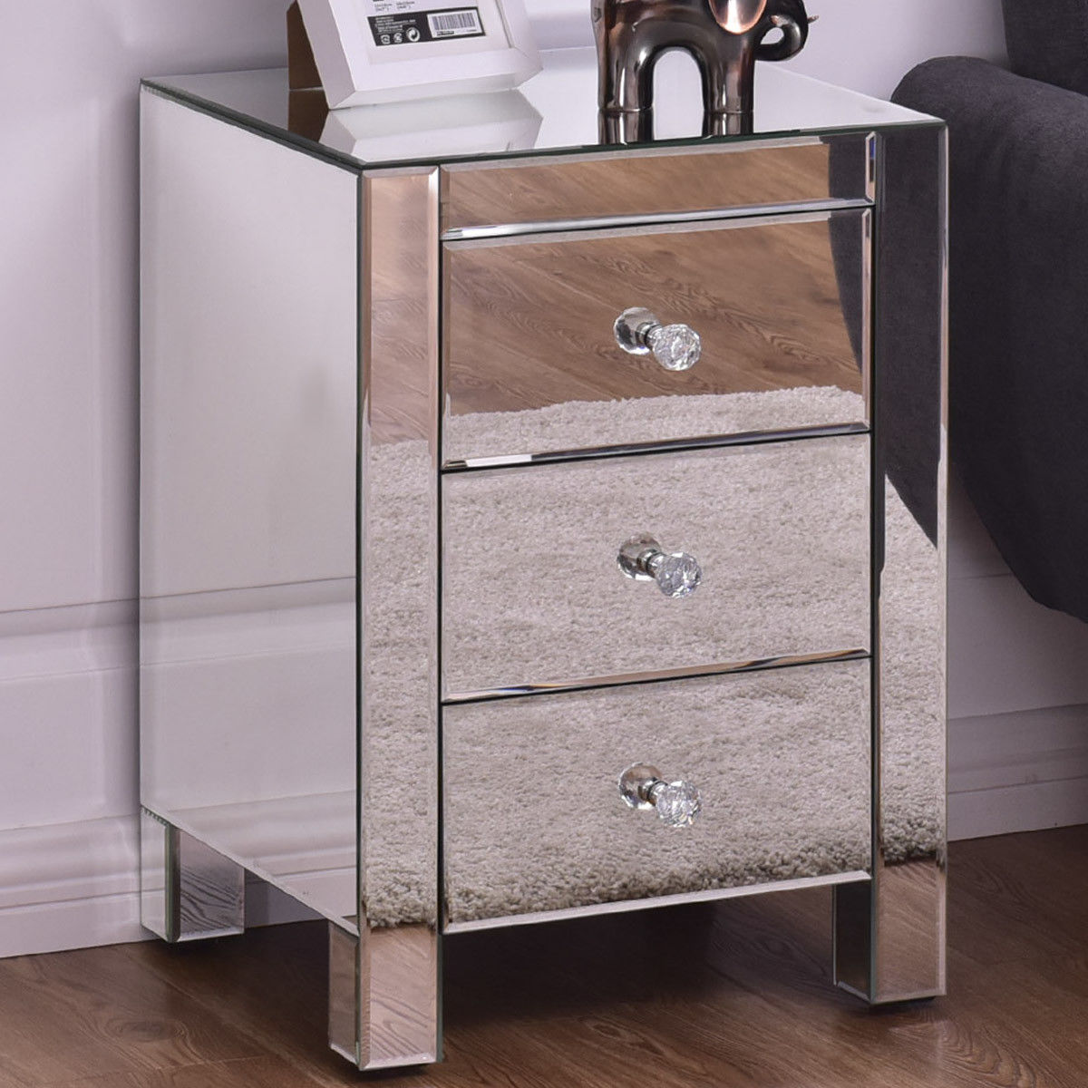 Giantex Mirrored Nightstand with 3 Drawer Modern Mirror End Table Bedroom Furniture Luxury Storage Accent Cabinet HW56409 zen s bamboo nightstand miti function storage drawer cabinet bed side table living bedroom funiture