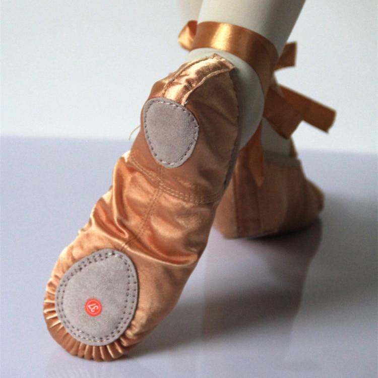 33d3c54e7d8 Brand New satin Ballet Dance Shoes Professional Soft Girls Women Ballet  Shoes Split Sole camel