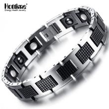 Новый Вольфрам Для мужчин здоровья энергии магнитного Камень Роскошный Черный покрытием браслет германий Для мужчин Браслеты Jewelry 8.2 дюймов