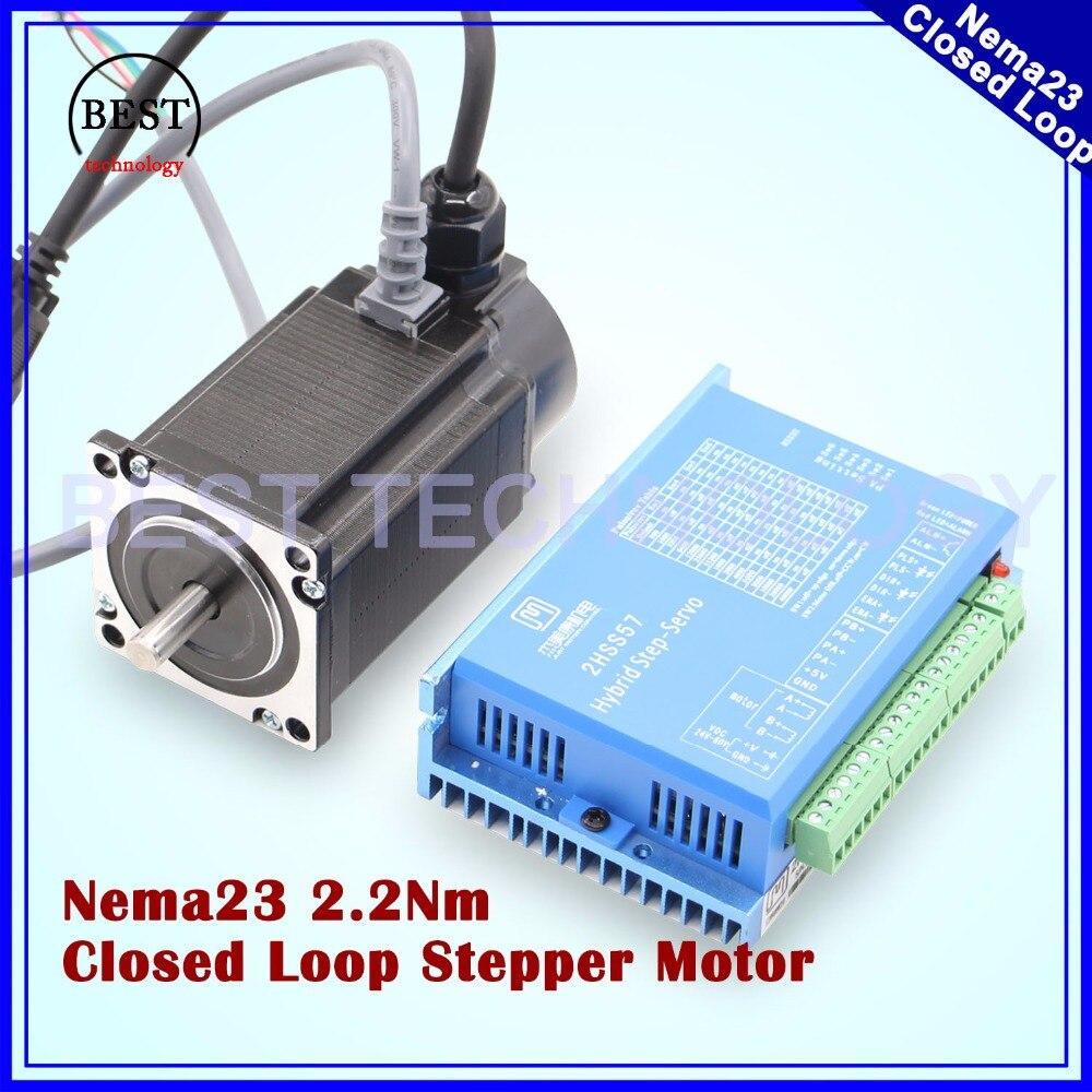 Nema23 замкнутой шагового двигателя 2.0N.m 4 провода 285Oz-in D = 8 мм Nema 23 2.2Nm закрыть петли шаговый двигатель Servo шагового двигателя
