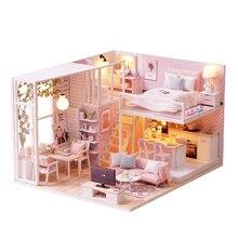 DIY Модель Кукольный дом мебель миниатюрный кукольный дом Пылезащитная крышка деревянный кукольный домик свет дом для куклы игрушки для детей подарок