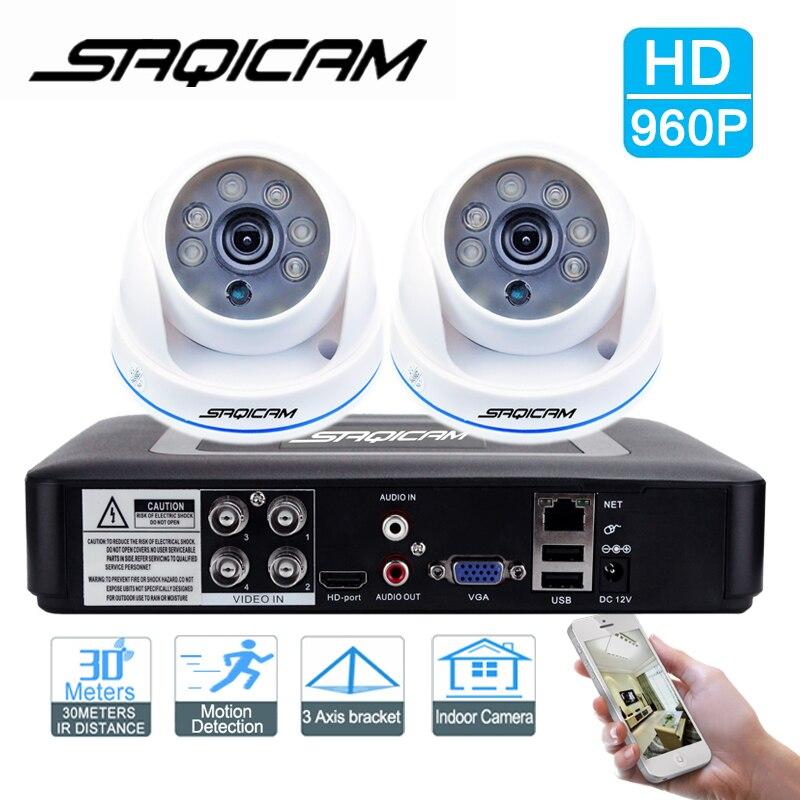bilder für Saqicam 4-kanal AHDH 1080N CCTV DVR Recorder 2 stücke 1200TVL Dome-kamera HD 960 P Überwachungskamera-system mit Nacht Vision