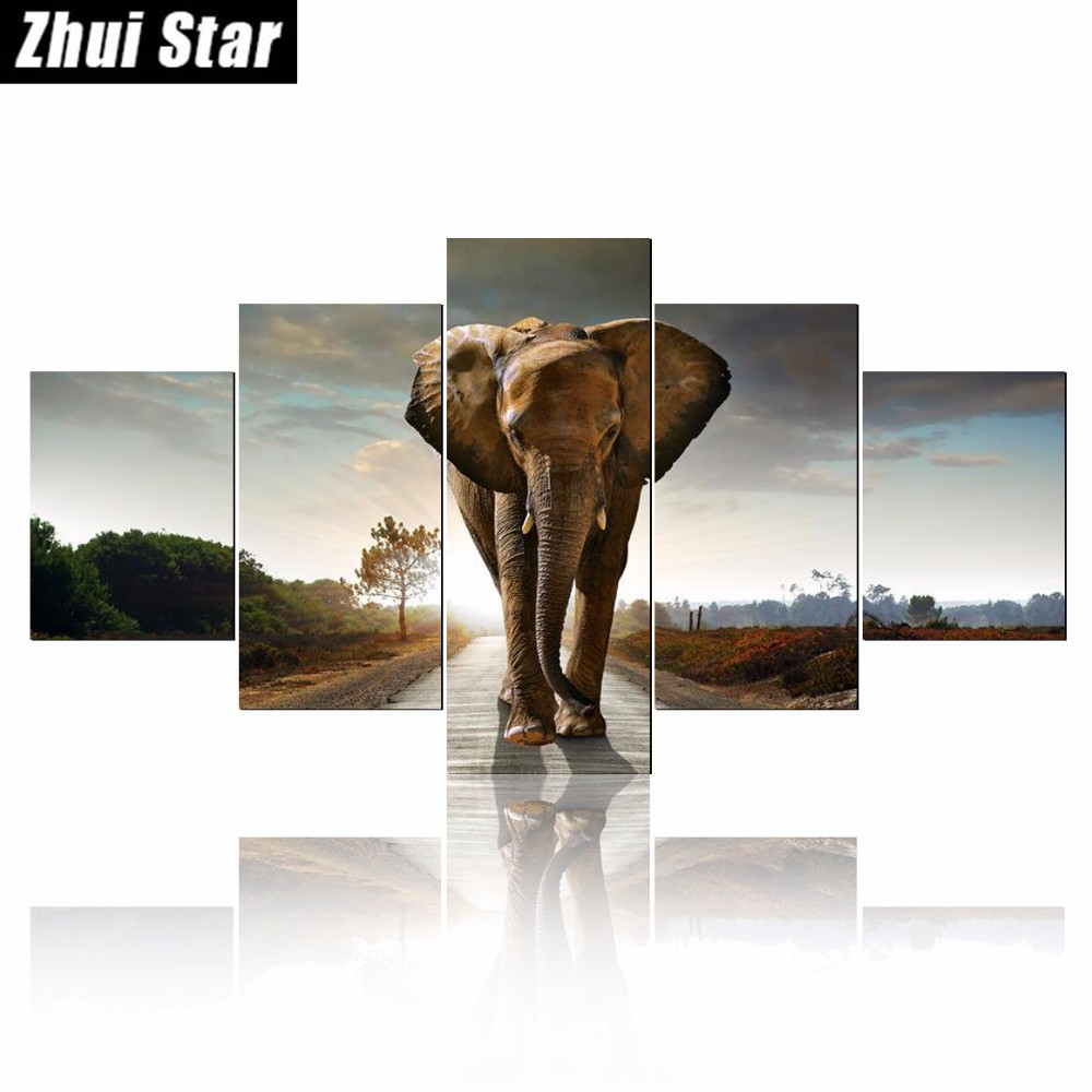 5-Panel-Large-Modern-Printed-Elephant-Oil-Painting-Picture-Cuadros-Decoracion-Canvas-Wall-Art-For-Living