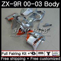 Body For KAWASAKI NINJA ZX 9R 9 R 900 Silver orange ZX 9R 2000 2001 2002 2003 62HC.17 ZX900 900CC ZX9 R ZX9R 00 01 02 03 Fairing