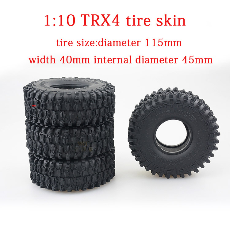 купить Free shipping 4pcs 1:10 TRX4 TRAXXAS Wear-resisting 1.9 inch climbing car tire skin tire inner gallbladder diameter 115mm AX5020 по цене 3739.86 рублей
