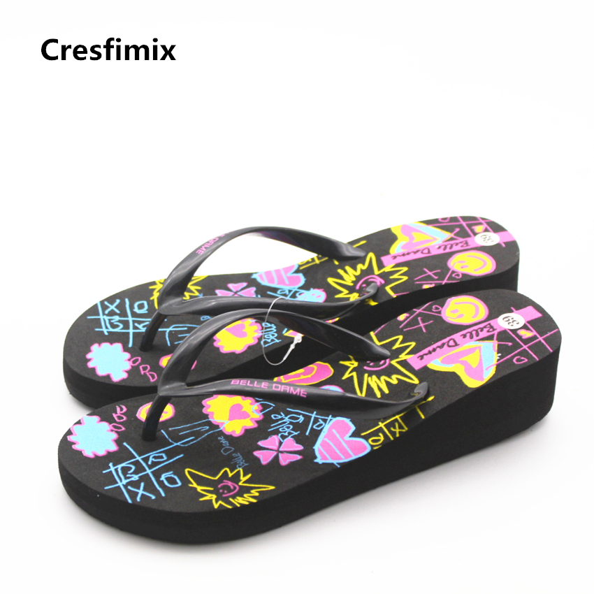 Cresfimix lady cute multi color soft eva height increased flip flops women fashion comfortable black flip flops cool flip flops