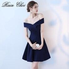 Реальное изображение, темно-синее платье для выпускного вечера es, сексуальное платье с открытыми плечами для выпускного вечера, Короткие вечерние платья с вырезом лодочкой, простые элегантные вечерние платья для выпускного вечера