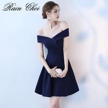 Реальное изображение темно-платье для выпускного вечера es 2018 пикантные с открытыми плечами платье для выпускного вечера Короткие Вечерние Лодка шеи простые элегантные платья Вечерние