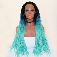 Fantasy Beauty Black Ombre Dark Blue Lace Front Wig Ombre Braided Box Braids Synthetic Wigs with Dark Roots for Woman