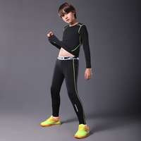 Compression running tights shirts sets kids basketball jersey pants running training suit gym sport fitness yoga leggings tights