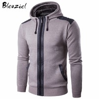 Bleizeiel Hooded Casual Sweater Men Slim Fit Zipper Cardigan For Men Knitted Sweaters High Quality Winter