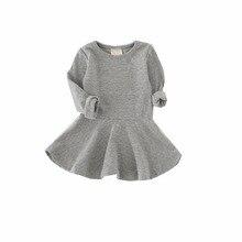 Однотонная детская одежда; сезон весна-осень; мини-платье с длинными рукавами и круглым вырезом для девочек; платье для маленьких девочек; детская одежда; vestido infantil