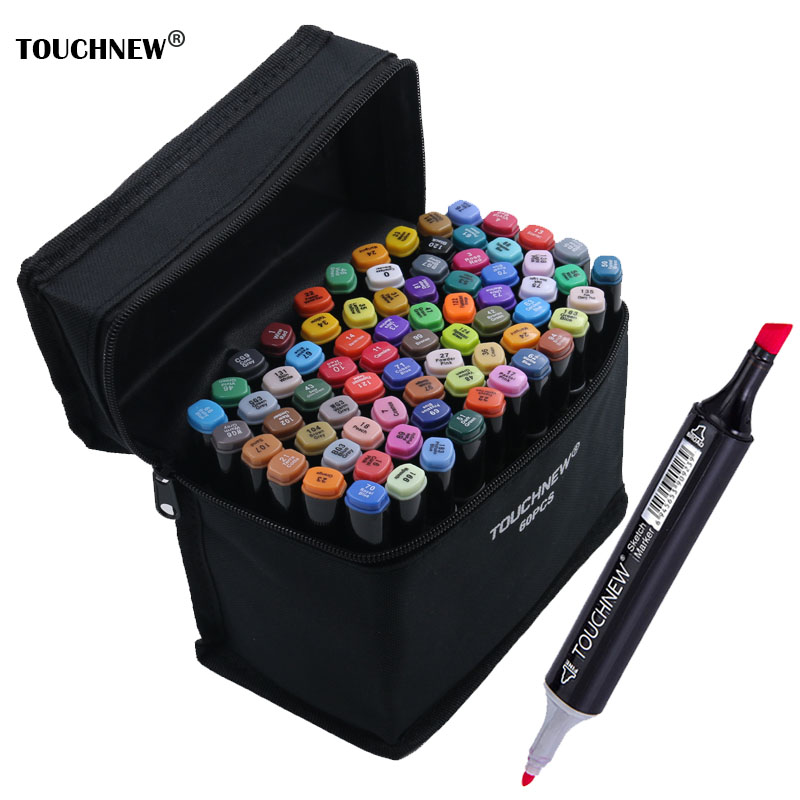 TOUCHNEW Dual Headed Artist Sketch Markers Pen Art Marker Set Oily Alcoholic Markers canetas Drawing Fine Liner Pens Set touchnew 30 40 60 80 color art markers set material for drawing alcoholic oily based marker manga dual headed brush pen