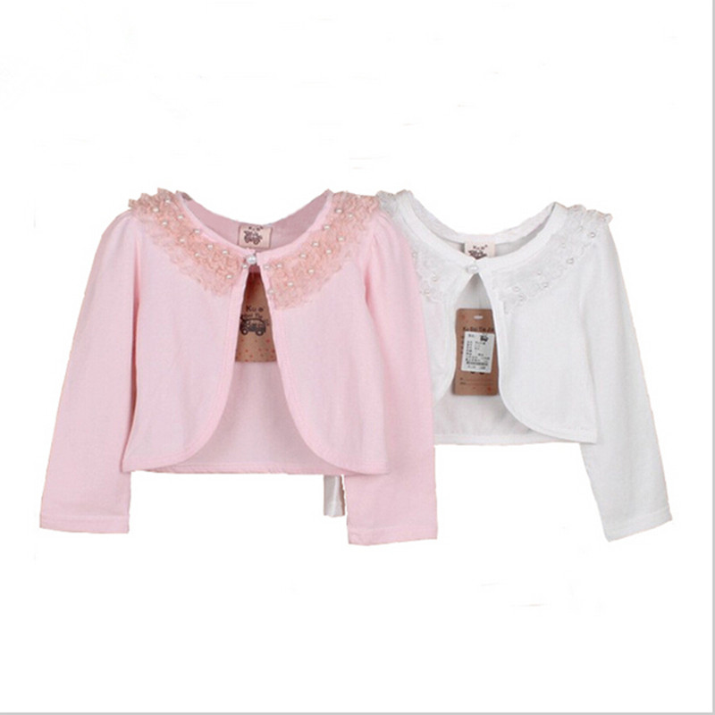 2016 New Girl Jacket Party Kids Clothes Girl Lace Pearl Bolero Clothing Børn Flower Girls Tippet Ivory Pink Jacket 4-15T