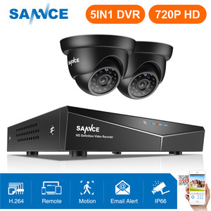 SANNCE 4CH 720P Security Camera System HDMI 5IN1 DVR With 2PCS TVI 720P Outdoor Weatherproof CCTV Home Video Surveillance kits