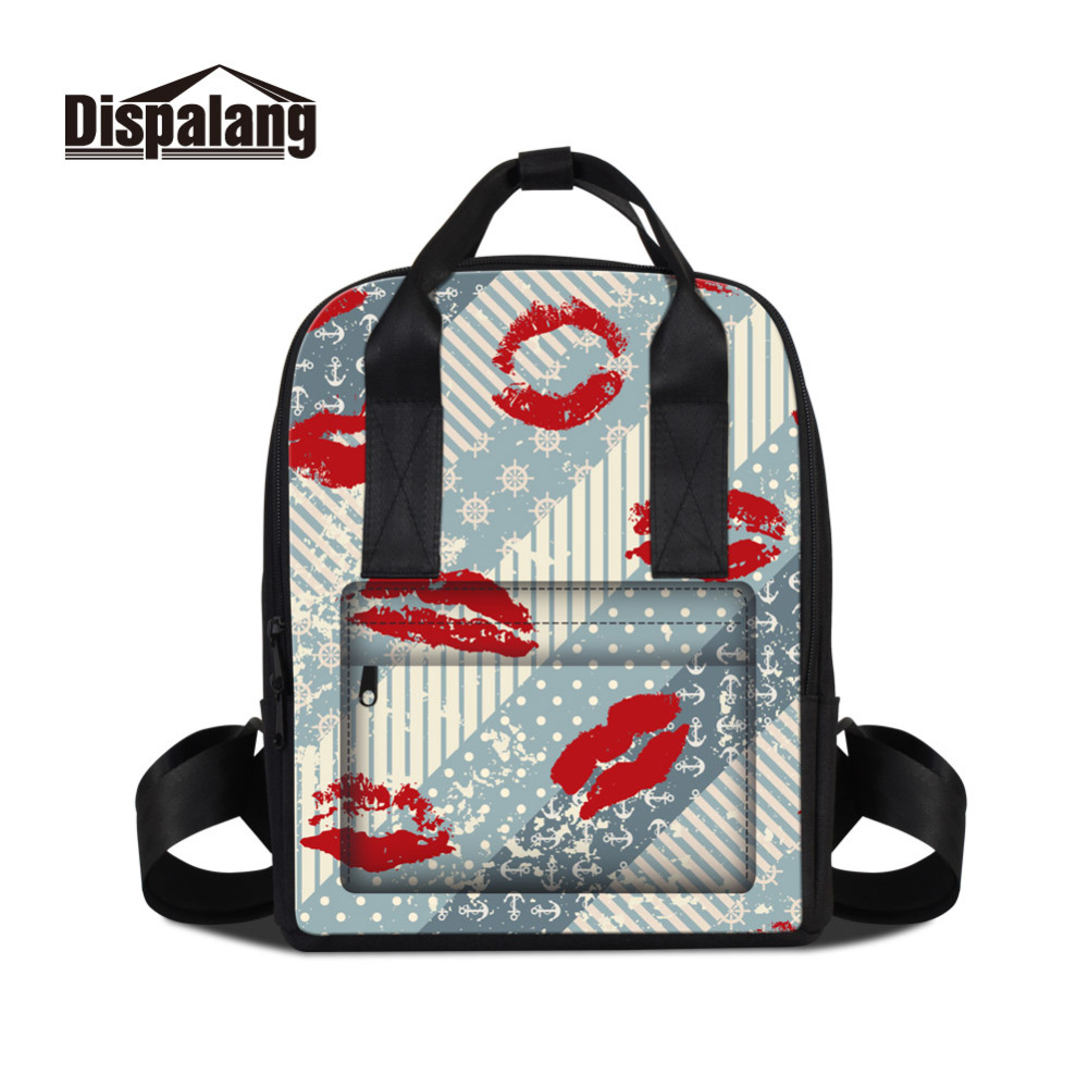 Dispalang 3D Printing Lips Backpack For Women Stripe Pattern School Bags For Teenager Girls Students Travel