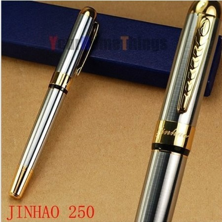 Promotion-JINHAO 250 Golden and Silver M Bib Fountain Pen stationery  office ink pen for gift free shipping HL48