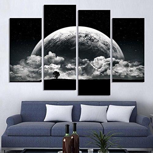 BANMU Obrazy na plátně Černobílé Vytištěno na blízkých planetách Vesmír 4dílná malba na stěně art místnost dekor bez rámu