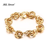 Classic Link Knot Bracelet For Women Gold Color Big Brands Style Party Jewelry Toggle Clasp Women