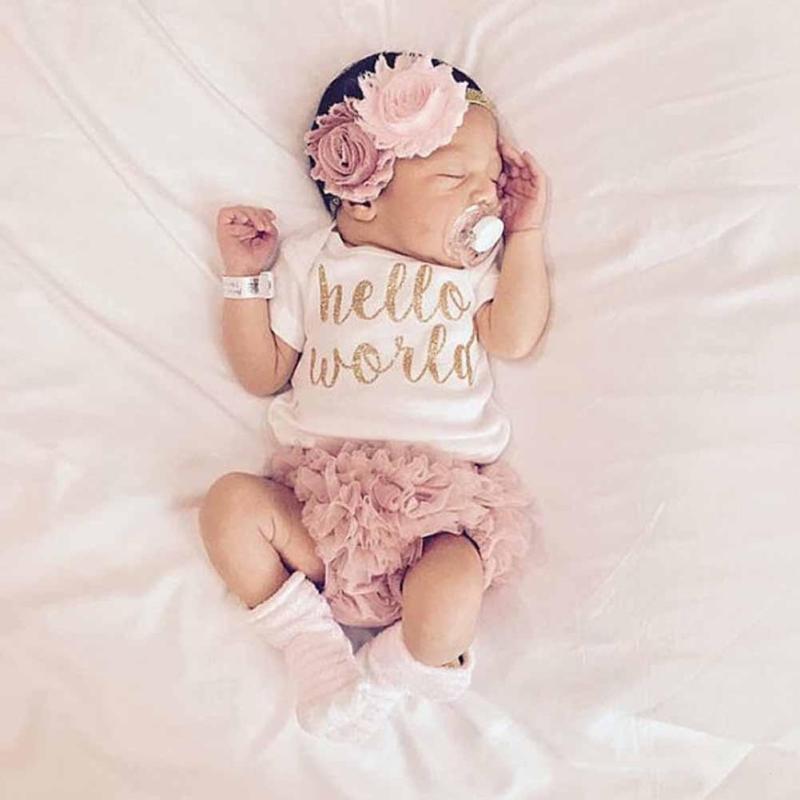 Baby girl clothing set Cotton romper lace PP short Newborn baby girl clothes Summer Infant jumpsuit pants Photograph props D25
