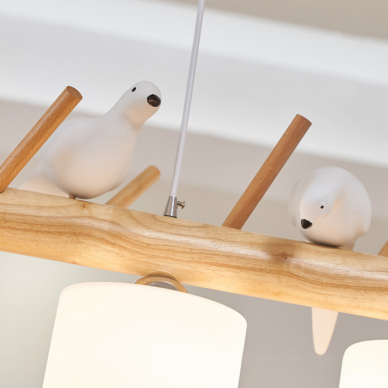 Image 5 - Decorative Nordic Pendant Lights Glass Hanging Lamp Dining Kids Room E27 2/3 Heads Creative Birds Pendant Lamp Wood Led Hanglamp-in Pendant Lights from Lights & Lighting