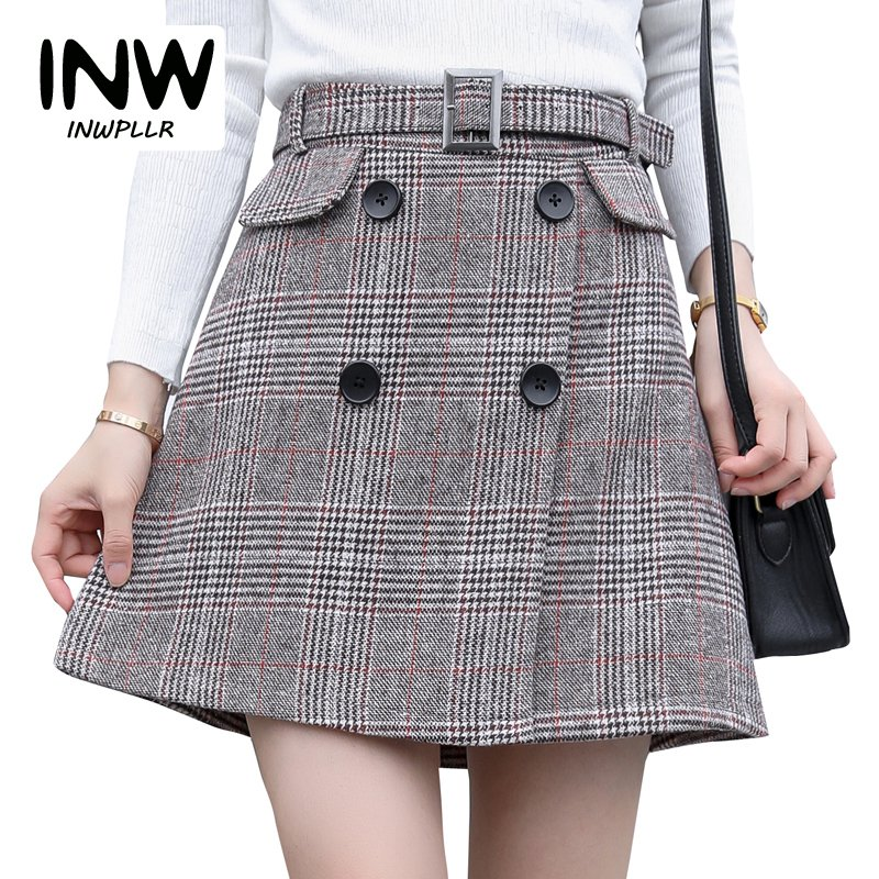 91ddb69584f New Arrival Houndstooth Skirt Women 2019 Fashion High Waist Skirts Womens  Casual Autumn Plaid Skirt Feminino