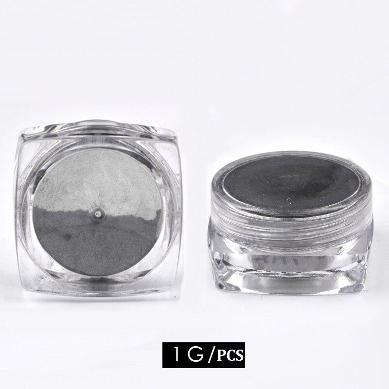 1g box Super Magic Mirror Black Nail Glitter UV Gel Polish Chrome Nail Art Pigment Dust Manicure Decorations For Nails DIY in Nail Glitter from Beauty Health
