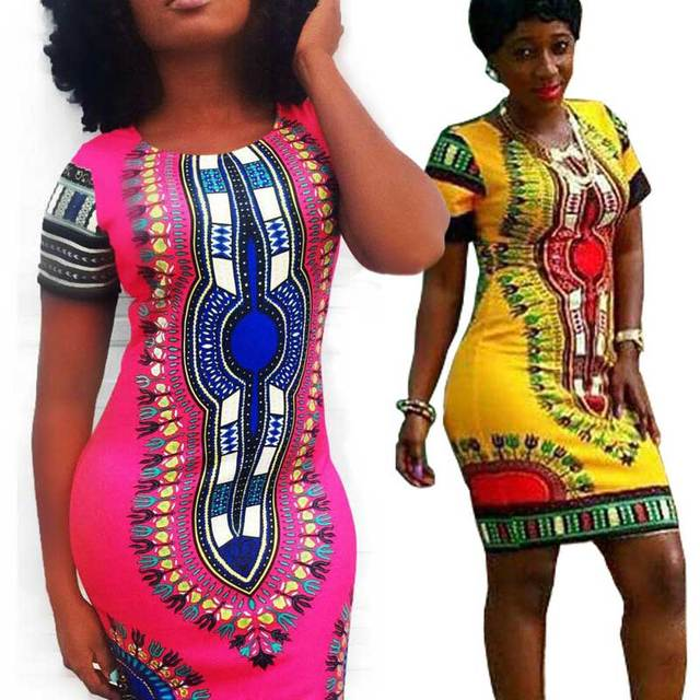 plus size summer dress 2017 sexy african traditional tribal print