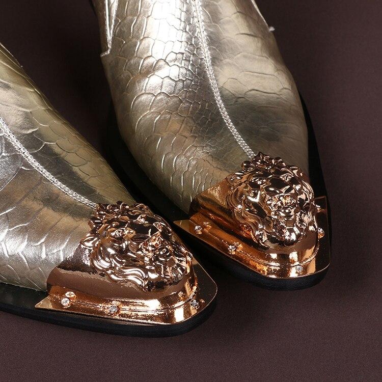 Sapatos Apontou Dourado Genuíno Vestem Metal Se Couro Oxford Casamento Pé Formal Dos Dedo Sapatas Brogues De Do Pele Ouro Para Homens Cobra 66ZSxwqC18
