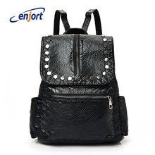 Enjort Женщины рюкзак мода PU дамы Рюкзаки школьные сумки Bolsas Femininas Сумка Черный Ежедневно Luna Bolsos Повседневная Mochila