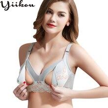 Female front open buckle bra gathered Anti-sagging cotton inner Bra lace no steel ring womens underwear