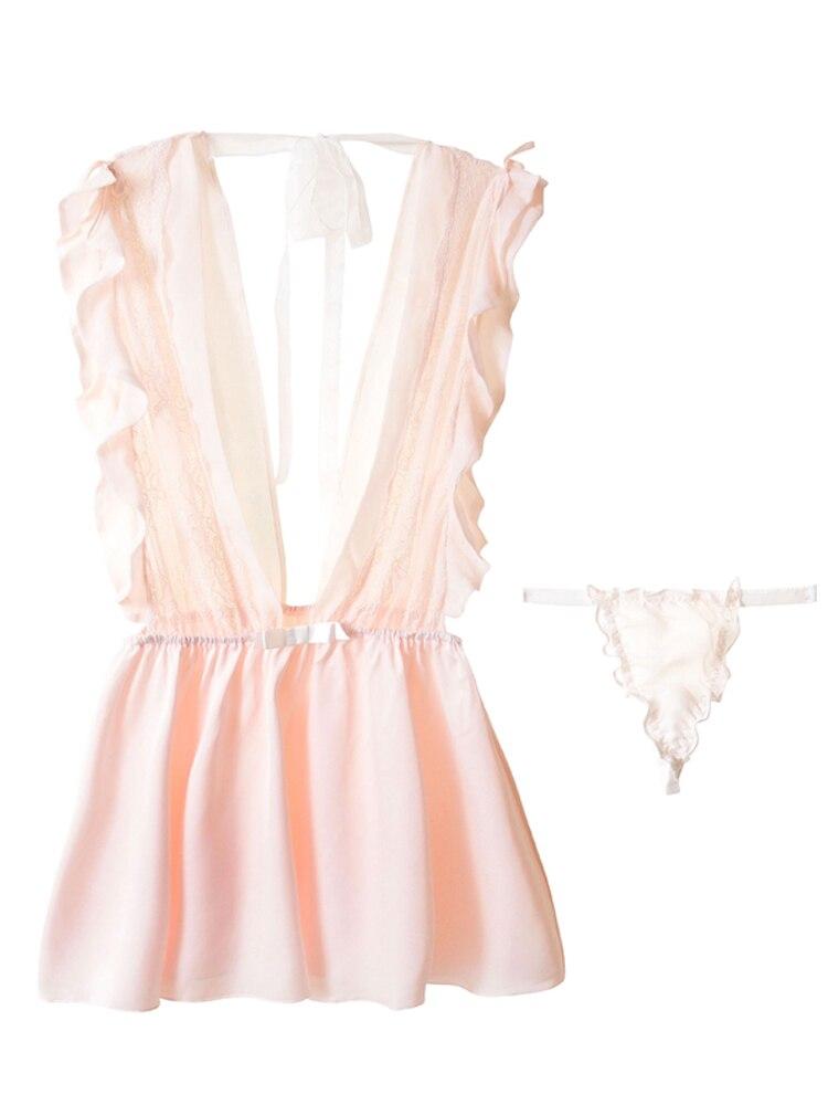 Женская одежда для сна, пижама с листьями лотоса, кружевная прозрачная марлевая соблазнительная ночная сорочка с оборками, женская ночная сорочка, одежда для сна