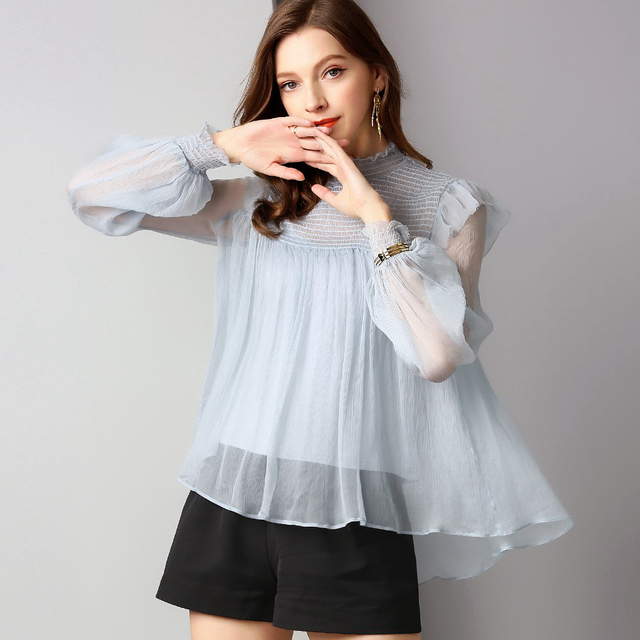 100% Silk Blouse Women Shirt Elegant Design Solid Elastic Stand Neck Long Lantern Sleeves 2 Colors A-line Top New Fashion 2019
