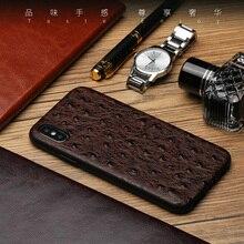 Luxe Lederen Struisvogel Case Voor Iphone X Xr Xs Max 7 8 Plus 11 Pro Max 12 Pro Max siliconen Volledige Beschermende Fundas Coque