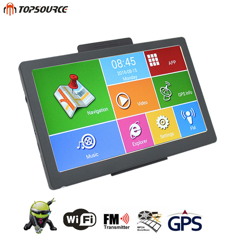 TOPSOURCE GPS Capacitive Screen Navigation 7 Inch HD Android 8GB 800MHZ Vehicle Truck GPS Russia/Europe/US Map Free Upgarade gps навигатор lexand sa5 hd